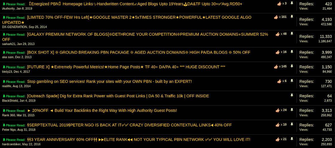 Some of the PBN packages for sale, with huge amounts of views and replies
