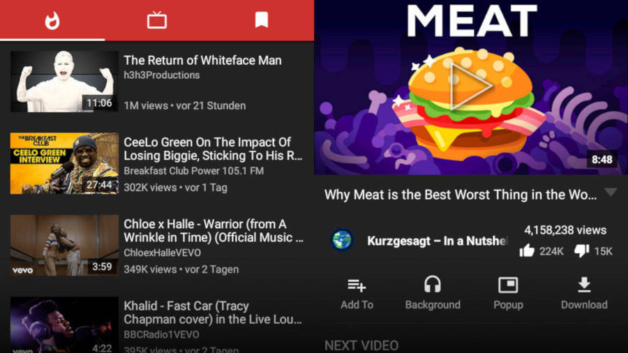 YouTube apps on Android
